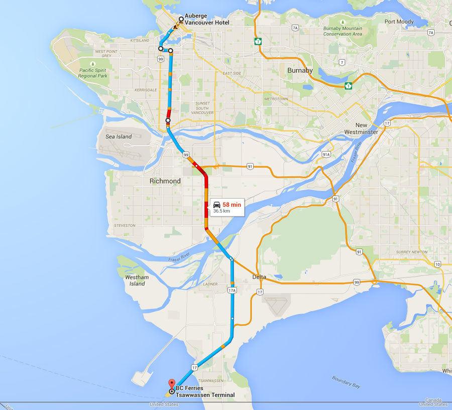 Map from Auberge to TSAWWASSEN FERRY TERMINAL