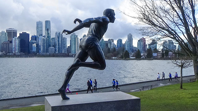 Harry Jerome Statue Overlooking Stanley Park Seawall and Downtown Vancouver